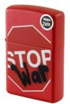 Zippo Stop War, Red Matte Lighter, Spray Paint,