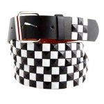 Metal Checker Stud Leather Belt w/Multiple Colors