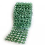 "Mesh Green Circles Rhinestone Ribbon Crystal Wrap 4.5"" 1 yard"