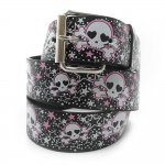 Print Leather Belt Pink Skull Chrome Buckle Hot Items