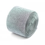 "Diamond Mesh Rhinestone Ribbon Crystal Wrap 4.5"" 1 yard Silver"