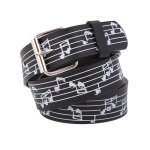 "Leather ""Musical Notes"" Printed Belt"