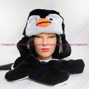 Penguin Winter Warm Black Beanie Cap Soft Long Ear Flaps