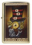 Zippo lighter 28320 industrial machinery skull brushed brass