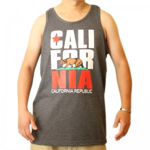 Men Funny Tank Top California Bear with Grey Color