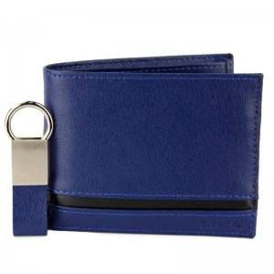 CALVIN KLEIN WALLET LEATHER PASSCASE PULL & TWIST KEY FOB SET