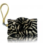 "Women's Rose Zebra Small Wristlet Bag With Multi Colors ""Gold"""