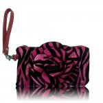"Women's Rose Zebra Small Wristlet Bag With Multi Colors ""Pink"""