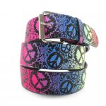 Print Leather Belt Color Peace Sign Chrome Buckle Hot Items