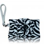 "Women's Rose Zebra Small Wristlet Bag With Multi Colors ""White"""