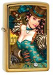 Zippo 28321 Classic Brushed Brass Industrial Machinery Art Lady