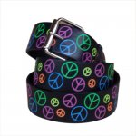 Print Leather Belt Color Peace Sign Chrome
