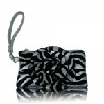 "Women's Rose Zebra Small Wristlet Bag With Multi Colors ""Silver"