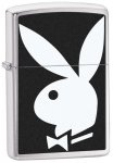 Zippo Lighter - Playboy Bunny Logo Brushed Chrome 28269