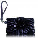 "Women's Rose Zebra Small Wristlet Bag With Multi Colors ""Purple"