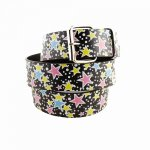 "Leather ""Colorful Stars"" Printed Belt"