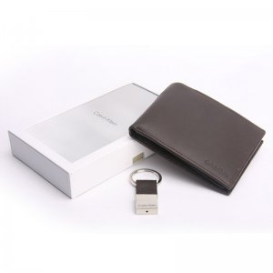 CALVIN KLEIN Leather Bookfold Key Fob Wallet Set