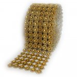 "Mesh Yellow Circles Rhinestone Ribbon Crystal Wrap 4.5"" 1 yard"