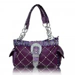 "Western Style Buckle Handbags ""Purple"