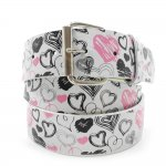 White Print Leather Belt Color Heart Chrome Buckle Hot Items