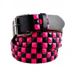 Leather Metal Checkered Stud Belt w/Multiple Colors