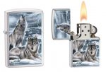 Zippo 28002 Mazzi Brushed Chrome Plated Howling Wolves Windproof