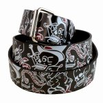 "Leather ""Skulls and Roses"" Printed Belt New With Tags"