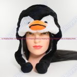 Penguin Winter Warm Black Beanie Cap Soft Short Ear Flaps
