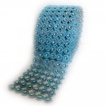 "Mesh Blue Circles Rhinestone Ribbon Crystal Wrap 4.5"" 1 yard"