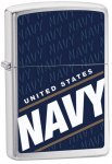 Zippo 24813Classic Blue US Navy Brushed Chrome Windproof Lighter