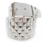3 Row White Leather Belt with Platinum Metal Stud