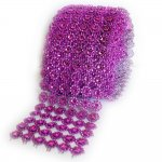 "Mesh Purple Circles Rhinestone Ribbon Crystal Wrap 4.5"" 1 yard"