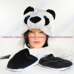 Panda Winter Warm Black White Beanie Cap Soft Long Ear Flaps