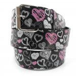Black Print Leather Belt Color Heart Chrome Buckle Hot Items