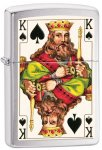 Zippo Lighter - King of Spades Double Sided Brushed Chrome 28489