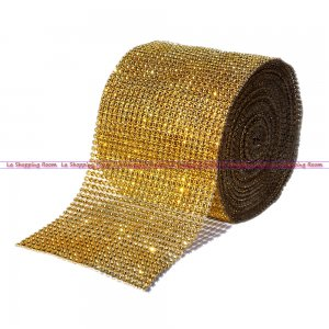 "Diamond Mesh Rhinestone Ribbon Crystal Wrap 4.5"" 1 yard Gold"
