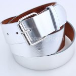 Silver Faux Leather Belt