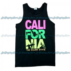 Men Funny Tank Top California Surfing Boy