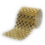 "Diamond Mesh Square Rhinestone Ribbon Crystal Wrap 4.5"" 1 yard G"