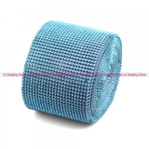"Diamond Mesh Rhinestone Ribbon Crystal Wrap 4.5"" 1 yard Turquois"