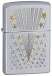 Zippo Lighter - Flag Satin Chrome 28277