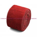 "Diamond Mesh Rhinestone Ribbon Crystal Wrap 4.5"" 1 yard Red"
