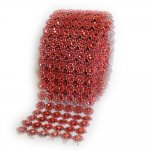 "Mesh Red Circles Rhinestone Ribbon Crystal Wrap 4.5"" 1 yard"