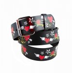 "Leather ""Flying Heart"" Printed Belt"